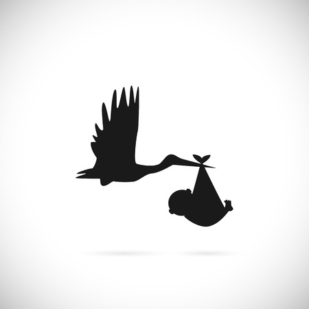 Illustration of a stork carrying a baby isolated on a white background. Иллюстрация