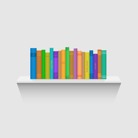 books on shelf: Illustration of a floating shelf with colorful books isolated on a white background.