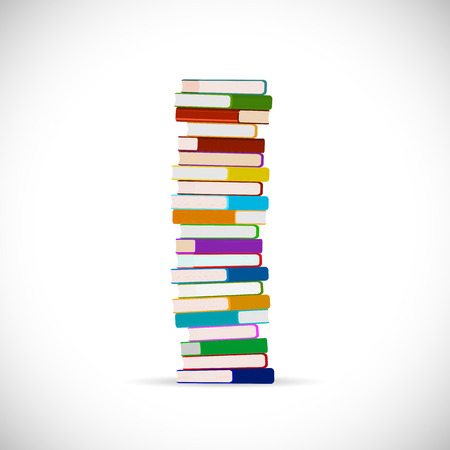 stacked books: Illustration of a stack of books isolated on a white background.