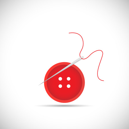 darn: Illustration of a button, thread and sewing needle isolated on a white background.