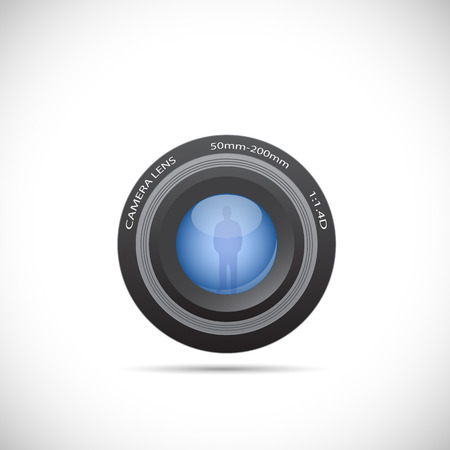 Illustration of a camera lens isolated on a white background. Vectores