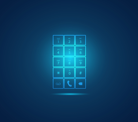 number of people: Illustration of a glowing mobile phone keypad design on a colorful background.