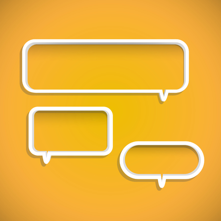 chat room: Illustration of chat bubble shelves on a colorful yellow background. Illustration
