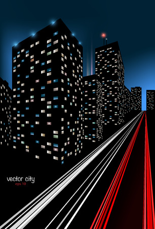 Illustration of a colorful night scene of a city.