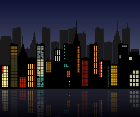 iconic architecture: Image of a colorful retro city skyline.