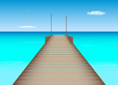 dock: Illustration of a dock, ocean and sky in a tropical location. Illustration