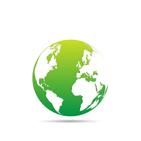 maps globes: Illustration of an eco-friendly green earth design isolated on a white background. Illustration