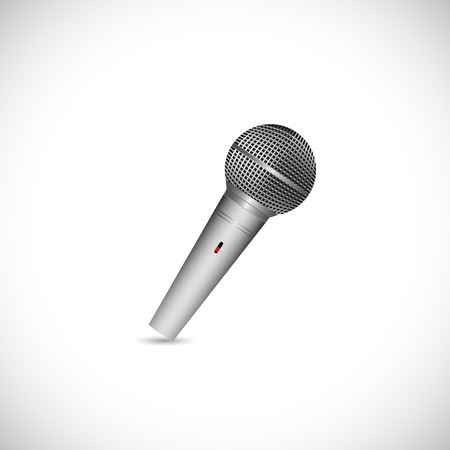 Illustration of a vintage microphone isolated on a white background.