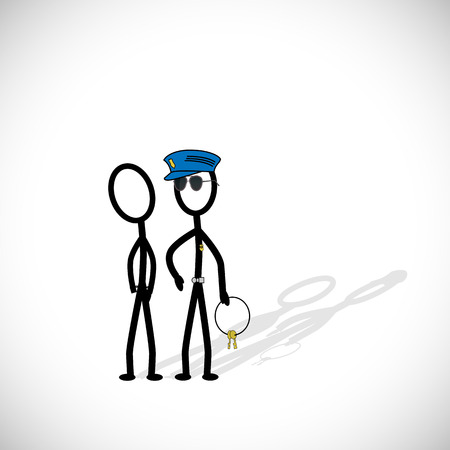 Illustration of police making an arrest on a white background. Vector