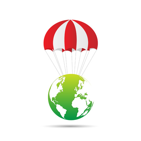 Illustration of an abstract earth design with parachute isolated on a white background.