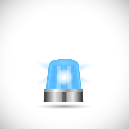 Illustration of a blue first responder light isolated on a white background.  イラスト・ベクター素材