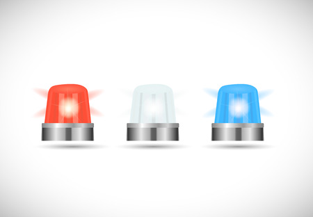 red siren: Illustration of red,white and blue first responder lights isolated on a white background.
