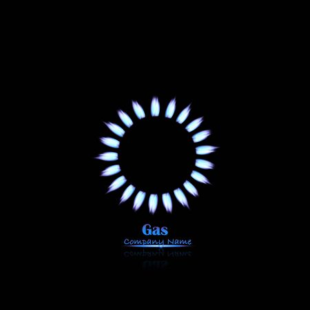 gas fire: Illustration of gas flames on a dark background.