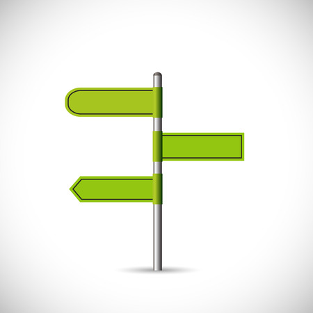 Illustration of a blank green signpost isolated on a white background.