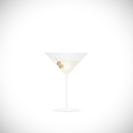 toothpick: Illustration of a martini glass isolated on a white background.