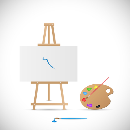 Illustration of a wooden easel, palette and paintbrushes isolated on a white background.