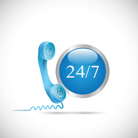 old phone: Illustration of a phone and 247 button isolated on a white background.