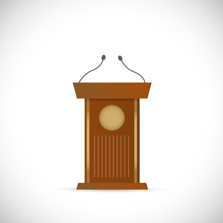 Illustration of a wooden podium isolated on a white background. Vector