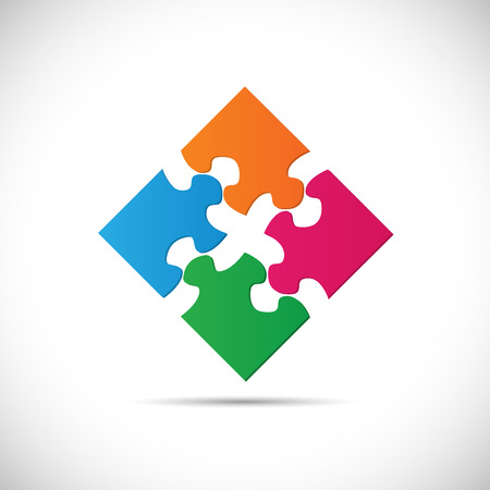 red puzzle piece: Illustration of colorful puzzle pieces isolated on a white background.