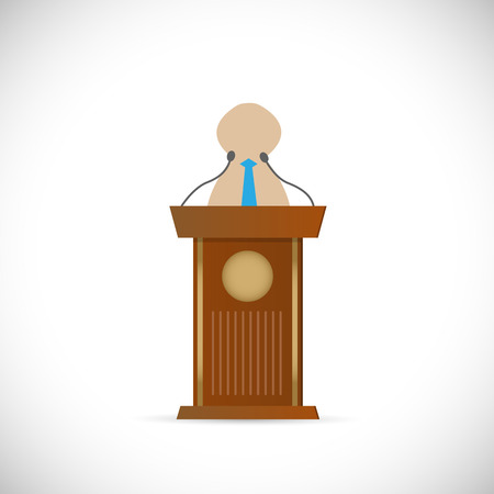 Illustration of a speaker and wooden podium isolated on a white background. Vector