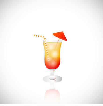tropical drink: Illustration of a tropical drink isolated on a white background.