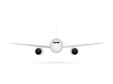 front view: Illustration of an airplane isolated on a white background.