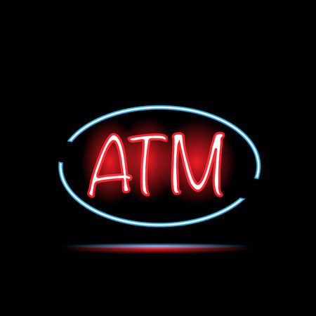 Illustration of a colorful ATM neon sign on a dark background. Vector