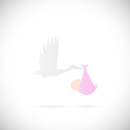 baby and mother: Illustration of a stork carrying a baby isolated on a white background. Illustration