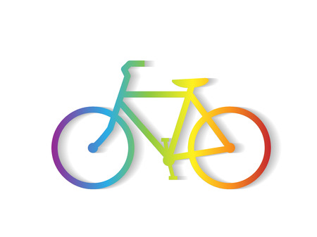 Illustration of a colorful bicycle illustration isolated on a white background.