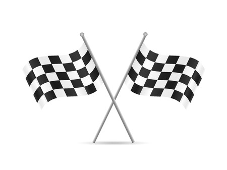 racing checkered flag crossed: Illustration of checkered flags isolated on a white background.