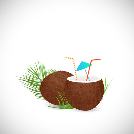 Illustration of a coconut drink isolated on a white background. Vector