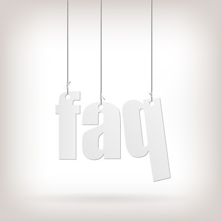 Image of hanging FAQ text isolated on a white background.