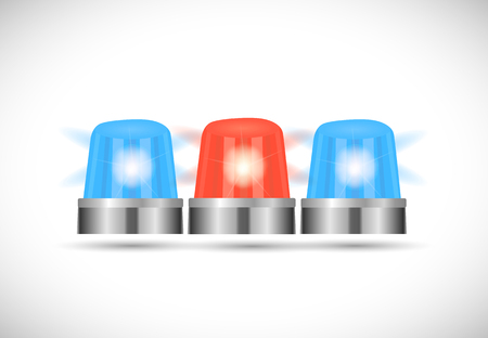first responder: Illustration of red and blue first responder lights isolated on a white background.