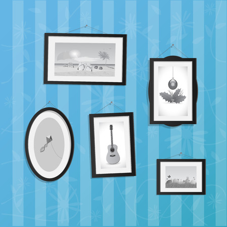 Illustration of hanging frames with pictures on a colorful background.