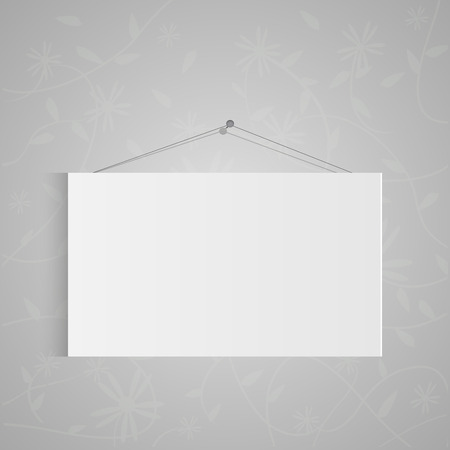 Illustration of a hanging sign isolated on a gray background. Ilustração