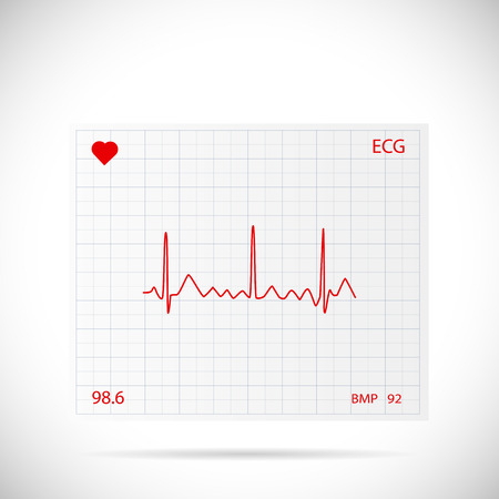 Illustration of a heart cardiogram wave on a piece of paper. Ilustracja
