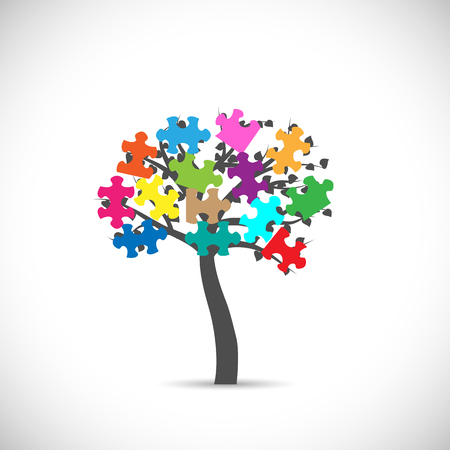 Illustration of an abstract puzzle tree isolated on a white background.