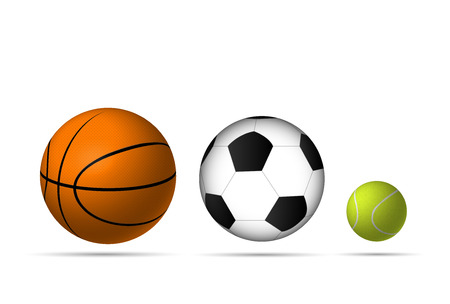 Illustration of sports balls isolated on a white background. Иллюстрация