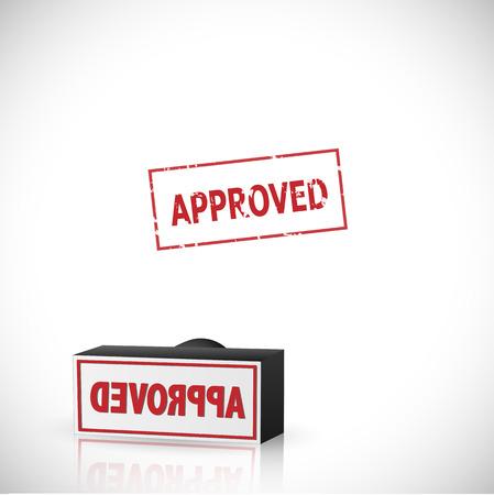 approved stamp: Ilustraci�n de un sello de aprobado aislado en un fondo blanco.
