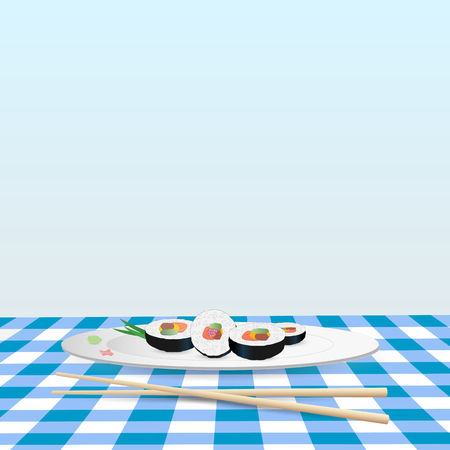 egg roll: Illustration of a plate of sushi on a colorful blue tablecloth. Illustration
