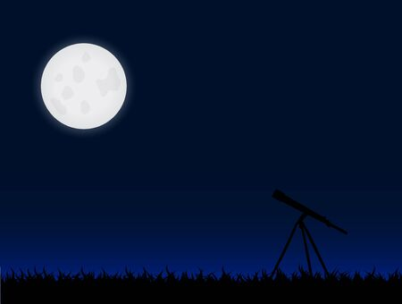 moon chair: Illustration of a telescope and the moon against a night sky background. Illustration