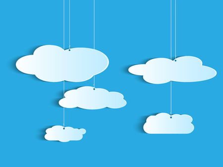 clouds: Illustration of a hanging clouds on a colorful background.