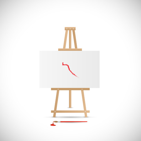 Illustration of a wooden easel and paintbrush isolated on a white background. Vector