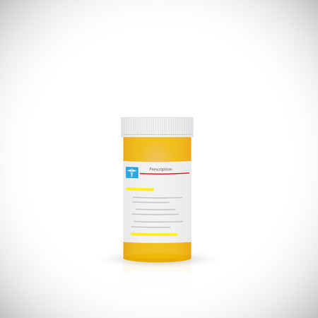 Illustration of a prescription bottle isolated on a white background. Illustration