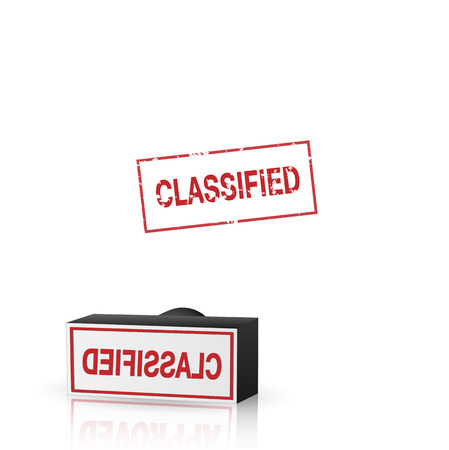 Illustration of an classified stamp isolated on a white background. Vector