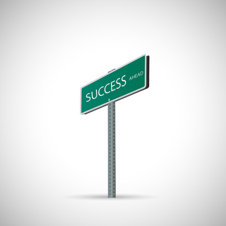 green street: Illustration of a success street sign isolated on a white background. Illustration