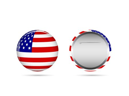 Illustration of a USA pin isolated on a white background. Vector