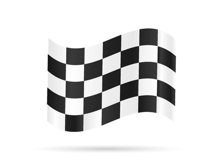racing checkered flag crossed: Illustration of a checkered flag isolated on a white background.