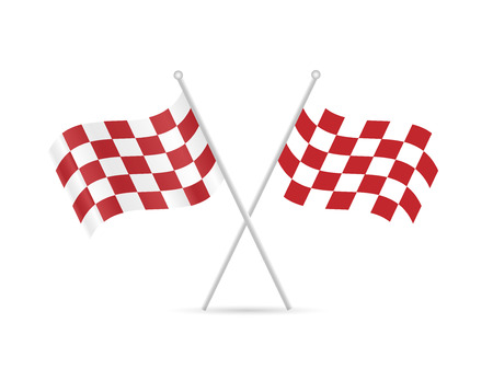 Illustration of red checkered flags isolated on a white background.