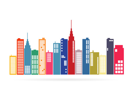 Illustration of an city isolated on a white background.
